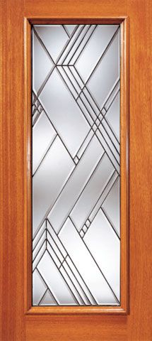 WDMA 42x80 Door (3ft6in by 6ft8in) Exterior Mahogany Contemporary Beveled Glass Entry Door Triple Glazed Glass Option 1