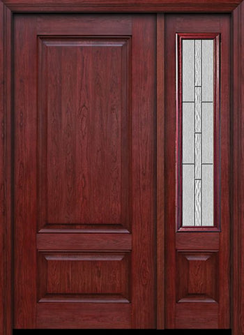 WDMA 42x80 Door (3ft6in by 6ft8in) Exterior Cherry Two Panel Single Entry Door Sidelight Waterside Glass 1