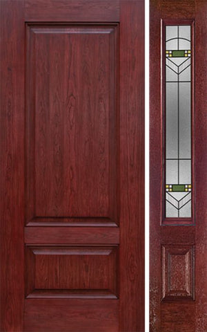 WDMA 42x80 Door (3ft6in by 6ft8in) Exterior Cherry Two Panel Single Entry Door Sidelight GR Glass 1