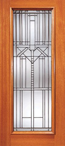 WDMA 42x80 Door (3ft6in by 6ft8in) Exterior Mahogany Decorative Beveled Glass Entry Door Triple Glazed Glass Option 1