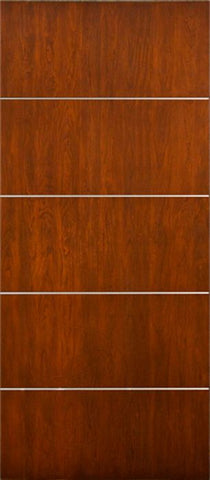 WDMA 42x80 Door (3ft6in by 6ft8in) Exterior Cherry Contemporary Lines Horizontal Aluminum Bar Single Entry Door 1