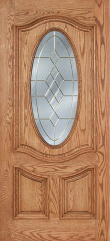 WDMA 42x80 Door (3ft6in by 6ft8in) Exterior Oak Dally Single Door w/ A Glass - 6ft8in Tall 1