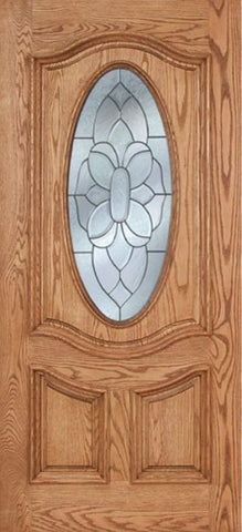 WDMA 42x80 Door (3ft6in by 6ft8in) Exterior Oak Dally Single Door w/ BO Glass - 6ft8in Tall 1