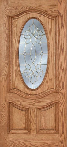WDMA 42x80 Door (3ft6in by 6ft8in) Exterior Oak Dally Single Door w/ CO Glass - 6ft8in Tall 1