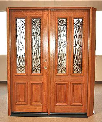 WDMA 42x80 Door (3ft6in by 6ft8in) Exterior Mahogany Single Door Twin Lite Entry Insulated Beveled Glass 4