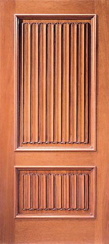 WDMA 42x80 Door (3ft6in by 6ft8in) Exterior Mahogany Colonial Single Door Hand Carved 2-Panel in  1