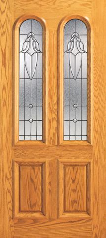 WDMA 42x80 Door (3ft6in by 6ft8in) Exterior Mahogany Twin Lite Arch Lite Front Single Door Insulated Glass 1