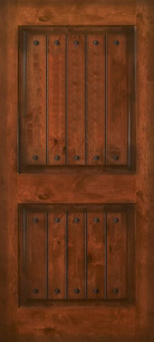 WDMA 42x80 Door (3ft6in by 6ft8in) Exterior Knotty Alder 42in x 80in 2 Panel Square V-Grooved Estancia Alder Door with Clavos 1