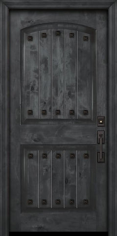 WDMA 42x80 Door (3ft6in by 6ft8in) Exterior Knotty Alder 42in x 80in Arch 2 Panel V-Grooved Estancia Alder Door with Clavos 2
