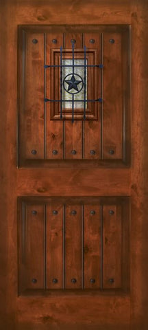 WDMA 42x80 Door (3ft6in by 6ft8in) Exterior Knotty Alder 42in x 80in 2 Panel Square V-Grooved Estancia Alder Door with Speakeasy / Clavos 1