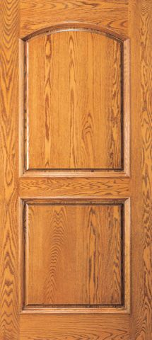 WDMA 42x96 Door (3ft6in by 8ft) Exterior Mahogany Home Wood Arch 2 Panel Traditional Colonial Single Door 1