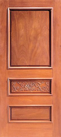 WDMA 42x96 Door (3ft6in by 8ft) Exterior Mahogany Colonial 3-Panels Single Door Hand Carved in  1