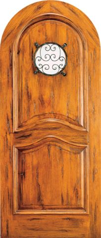 WDMA 42x96 Door (3ft6in by 8ft) Exterior Knotty Alder Round Top Front Door Ironwork Speakeasy 1