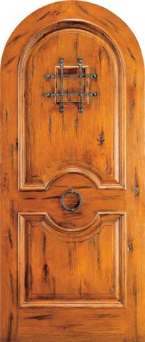 WDMA 42x96 Door (3ft6in by 8ft) Exterior Knotty Alder Round Top Front Door Speakeasy Door Knob 1