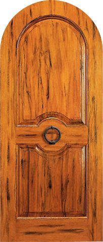 WDMA 42x96 Door (3ft6in by 8ft) Exterior Tropical Hardwood RA-410 Round Top Raised 2-Panel Rustic Hardwood Single Door 1