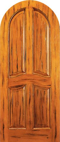WDMA 42x96 Door (3ft6in by 8ft) Exterior Tropical Hardwood RA-440 Round Top Raised 4-Panel Tropical Rustic Hardwood Entry Single Door 1