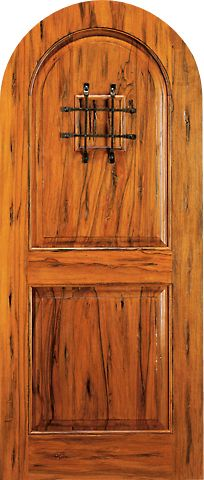 WDMA 42x96 Door (3ft6in by 8ft) Exterior Tropical Hardwood RA-465 Speakeasy Round Top Raised 2-Panel Rustic Hardwood Entry Single Door 1