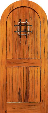WDMA 42x96 Door (3ft6in by 8ft) Exterior Tropical Hardwood RA-455 Round Top Plank Grooved 2-Panel Tropical Rustic Hardwood Entry Single Door 1