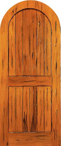 WDMA 42x96 Door (3ft6in by 8ft) Exterior Tropical Hardwood RA-450 Round Top Plank Grooved 2-Panel Tropical Rustic Hardwood Entry Single Door 1