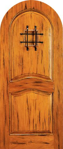 WDMA 42x96 Door (3ft6in by 8ft) Exterior Tropical Hardwood RA-425 Speakeasy Round Top Raised 2-Panel Rustic Hardwood Entry Single Door 1