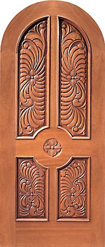 WDMA 42x96 Door (3ft6in by 8ft) Exterior Mahogany Round Top Single Door Floral Hand Carved 4-Panel in  1