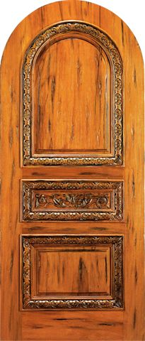 WDMA 42x96 Door (3ft6in by 8ft) Exterior Tropical Hardwood RA-470 Round Top Raised Carved 3-Panel Rustic Hardwood Entry Single Door 1