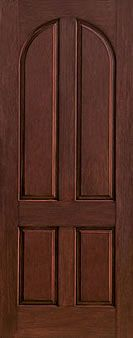 WDMA 42x96 Door (3ft6in by 8ft) Exterior Rustic Fiberglass Impact Door 8ft 4 Panel Round Top 1