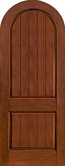 WDMA 42x96 Door (3ft6in by 8ft) Exterior Rustic Fiberglass Impact Door 8ft Radiused 2 Panel Plank Round Top 1