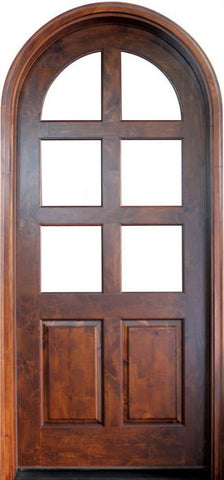 WDMA 42x96 Door (3ft6in by 8ft) Exterior Swing Knotty Alder Meadowlands 6 Lite Single Door/Round Top 2-1/4 Thick 1