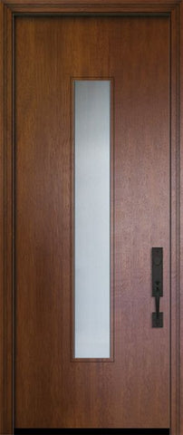 WDMA 42x96 Door (3ft6in by 8ft) Exterior Mahogany 42in x 96in Malibu Solid Contemporary Door w/Textured Glass 1