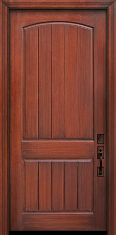 WDMA 42x96 Door (3ft6in by 8ft) Exterior Mahogany 42in x 96in 2 Panel Arch V-Grooved Door 1