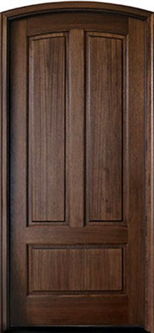 WDMA 42x96 Door (3ft6in by 8ft) Exterior Swing Mahogany Trinity 3 Panel Single Door/Arch Top 2-1/4 Thick 1