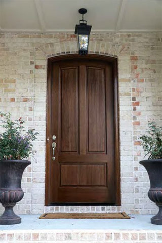 WDMA 42x96 Door (3ft6in by 8ft) Exterior Swing Mahogany Trinity 3 Panel Single Door/Arch Top 2-1/4 Thick 2