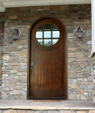 WDMA 42x96 Door (3ft6in by 8ft) Exterior Swing Mahogany Porthole 9 Lite Single Door/Round Top 2