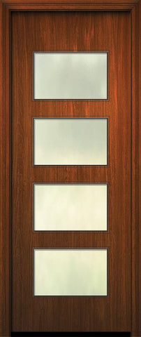 WDMA 42x96 Door (3ft6in by 8ft) Exterior Mahogany 42in x 96in Santa Monica Solid Contemporary Door w/Textured Glass 1