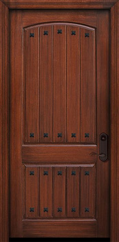 WDMA 42x96 Door (3ft6in by 8ft) Exterior Mahogany 42in x 96in 2 Panel Arch V-Groove Door with Clavos 1