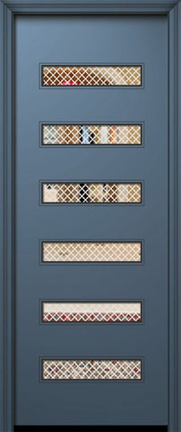 WDMA 42x96 Door (3ft6in by 8ft) Exterior Smooth 42in x 96in Beverly Solid Contemporary Door w/Metal Grid 1