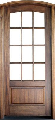 WDMA 42x96 Door (3ft6in by 8ft) Patio Swing Mahogany Trinity TDL 12 Lite Single Door/Arch Top 2-1/4 Thick 1