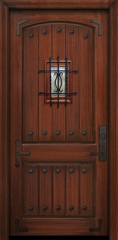 WDMA 42x96 Door (3ft6in by 8ft) Exterior Mahogany 42in x 96in 2 Panel Arch V-Groove Door with Speakeasy Straps / Clavos 1