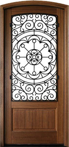 WDMA 42x96 Door (3ft6in by 8ft) Exterior Swing Mahogany Trinity Single Door/Arch Top w Iron #1 2-1/4 Thick 1