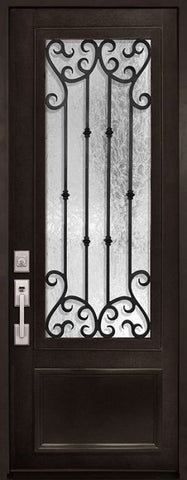 WDMA 42x96 Door (3ft6in by 8ft) Exterior 42in x 96in Valencia 3/4 Lite Single Wrought Iron Entry Door 1