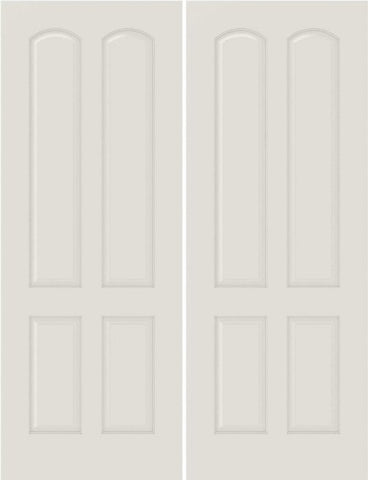 WDMA 44x80 Door (3ft8in by 6ft8in) Interior Bifold Smooth 4080 MDF 4 Panel Arch Panel Double Door 1