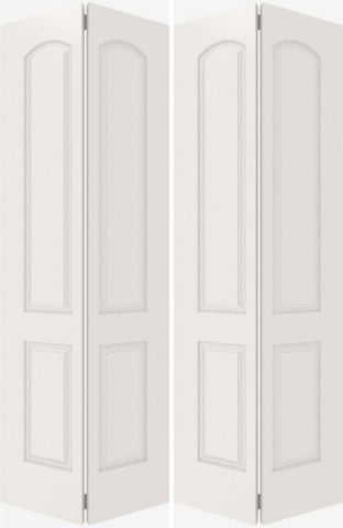 WDMA 44x80 Door (3ft8in by 6ft8in) Interior Bifold Smooth 4080 MDF 4 Panel Arch Panel Double Door 2