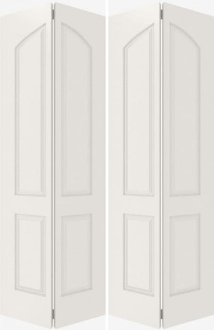 WDMA 44x80 Door (3ft8in by 6ft8in) Interior Bifold Smooth 4020 MDF 4 Panel Arch Panel Double Door 1