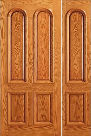 WDMA 44x80 Door (3ft8in by 6ft8in) Exterior Mahogany Entry 4 Panel Arch Panel One Sidelight Door 1