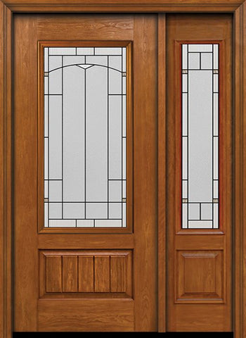 WDMA 44x80 Door (3ft8in by 6ft8in) Exterior Cherry Plank Panel 3/4 Lite Single Entry Door Sidelight Topaz Glass 1