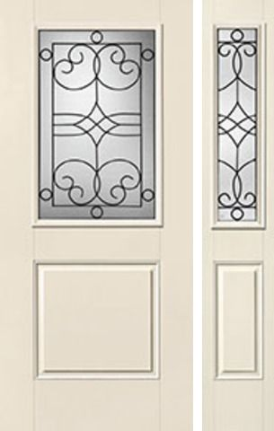 WDMA 44x80 Door (3ft8in by 6ft8in) Exterior Smooth Salinas Half Lite 1 Panel Star Door 1 Side Half Lite Sidelight 1