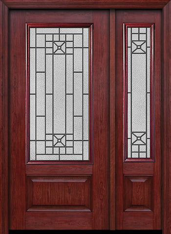 WDMA 44x80 Door (3ft8in by 6ft8in) Exterior Cherry 3/4 Lite 1 Panel Single Entry Door Sidelight Courtyard Glass 1