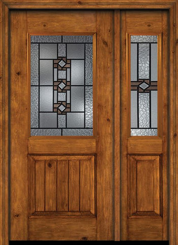 WDMA 44x80 Door (3ft8in by 6ft8in) Exterior Cherry Alder Rustic V-Grooved Panel 1/2 Lite Single Entry Door Sidelight Mission Ridge Glass 1
