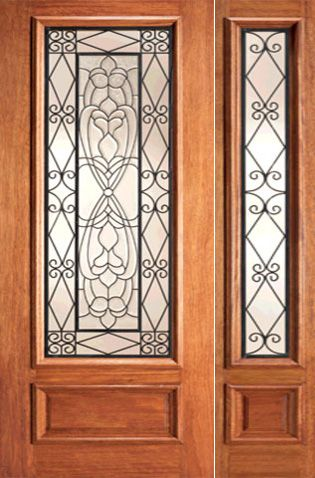 WDMA 44x80 Door (3ft8in by 6ft8in) Exterior Mahogany Scrollwork Ironwork Beveled Glass Door One Sidelight 1